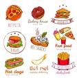 Fast Food Badges Set vector image