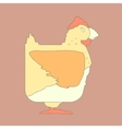 Hand drawn flat square icon chicken isolated on vector image