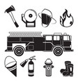 monochrome of fireman tools in fire vector image