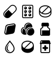 Pills Vitamin and Capsules Icons Set vector image