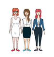 pretty business women with haistyle and elegant vector image
