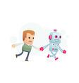 robot runs with a man vector image
