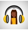 headphones music character girl afro vector image