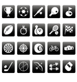 White sport icons on black squares vector image vector image