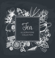 tea design on chalkboard vector image