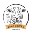 lamb head silhouette emblem label vector image