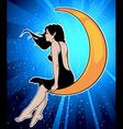 girl on moon vector image vector image