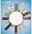 Los Angeles Skyline with Grey Buildings vector image