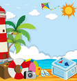 Summer theme with objects on the beach vector image