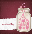 Hearts in a glass jar vector image