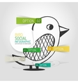 drawn social bird design and infographics vector image