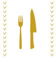 Yellow chef knife and fork crossed in vector image