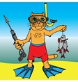 Cat on a fishing vacation vector image
