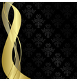black vintage background with gold ribbons vector image