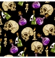 Doodle seamless pattern with flasks and skulls vector image