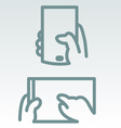 Phone and tablet use simple icons vector image