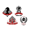 Chess game club and cup icons vector image
