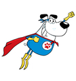 White Super Hero Dog Flying vector image