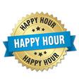 happy hour 3d gold badge with blue ribbon vector image