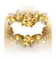 Gold Banner with Gold Roses vector image vector image
