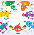 banner poster with funny cartoon robot characters vector image