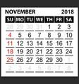 calendar sheet november 2018 vector image