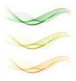 set of abstract color wave smoke transparent green vector image