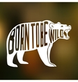 Silhouette of wild bear with text inside on blur vector image