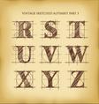 Vintage sketched alphabet set 3 vector image