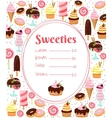 Sweets menu or price list template vector image