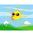 happy sun on mountains vector image
