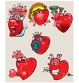Cheerful and different hearts on the isolated vector image
