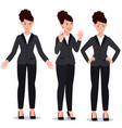 business woman in suit set emotions poses vector image
