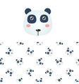 Panda Head Icon And Pattern vector image