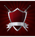 Shield and two swords with ribbon on red rays vector image