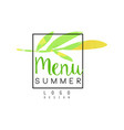 summer menu logo design badge for healthy food vector image