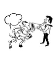 Business man speaking by using bullhorn to buffalo vector image