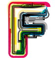 Colorful Grunge font LETTER F vector image vector image
