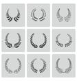 black laurel wreaths icons set vector image