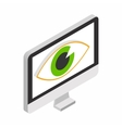 Monitor with eye isometric 3d icon vector image