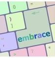 computer keyboard key with the word embrace on it vector image