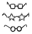 Hand sketch funny glasses vector image