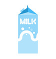 Milk package isolated cardboard box for drink vector image