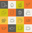 multicolor tea line icons set vector image
