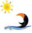 parrot and beach icon vector image