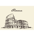 Streets Rome Colosseum drawn sketch vector image