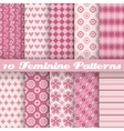 10 Feminine seamless patterns tiling Fond pink vector image