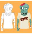 Zombie coloring sketch vector image