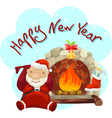 santa claus with fireplace vector image