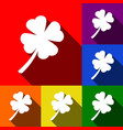 leaf clover sign  set of icons with flat vector image